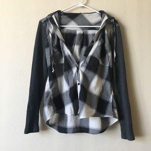 En Creme Tops - 💙NWOT💙 En Creme Hooded Button Down Flannel